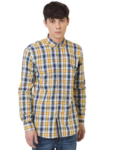 Yellow Color Cotton Checked Men Shirt - LION2019C3