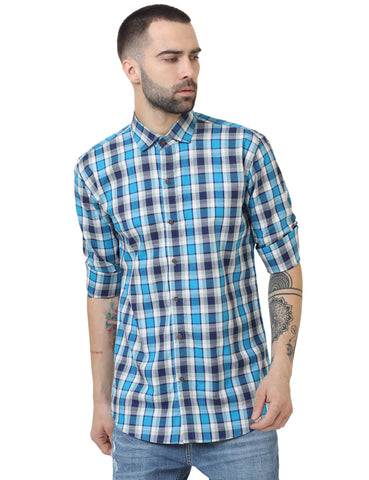 Blue Color Cotton Checked Men Shirt - LION2019C4