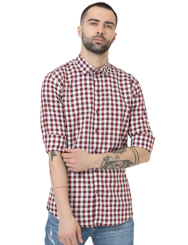 Pink Color Cotton Checked Men Shirt - LION2019C5