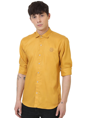 Mustard Color Doby Men Casual Shirt - LION2019D1