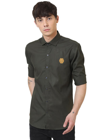 Olive Color Doby Men Casual Shirt - LION2019D2