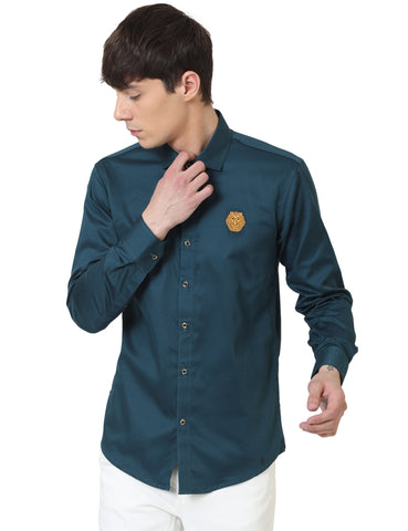Turquise Blue Color Doby Men Casual Shirt - LION2019D3