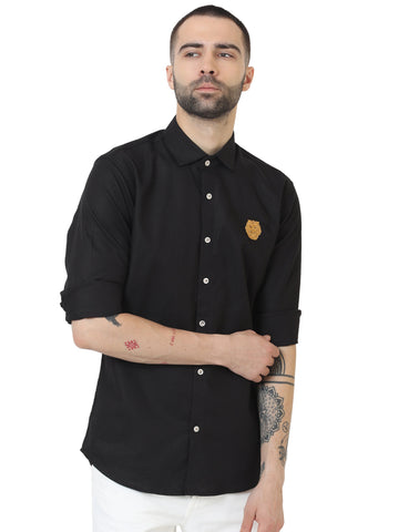 Black Color Doby Men Casual Shirt - LION2019D4