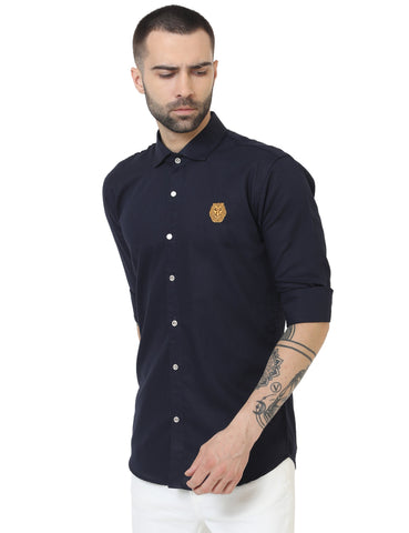 Navy Blue Color Doby Men Casual Shirt - LION2019D5