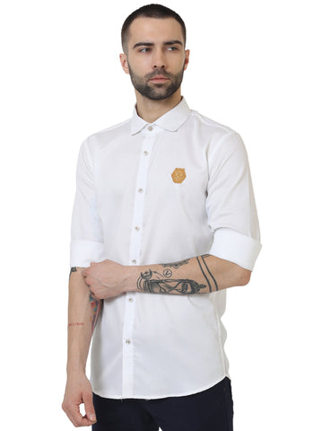 White Color Doby Men Casual Shirt - LION2019D6