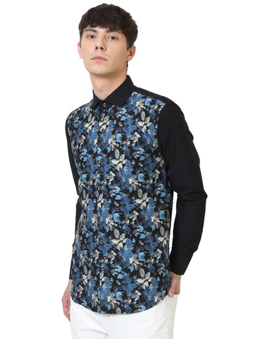 Navy Blue Color Cotton Men Casual Shirt - LION2019D7