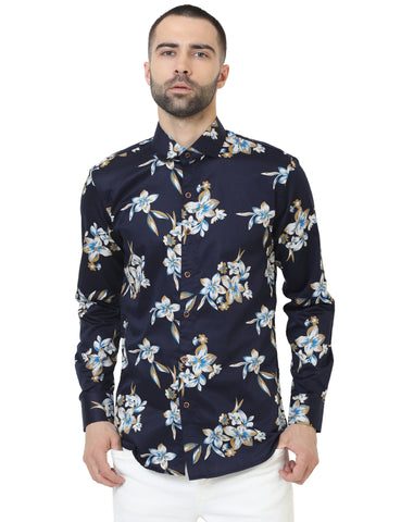 Navy Blue Color Cotton Satin Printed Men Shirt - LION2019P10