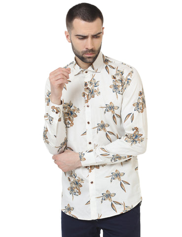Beige Color Cotton Satin Printed Men Shirt - LION2019P11