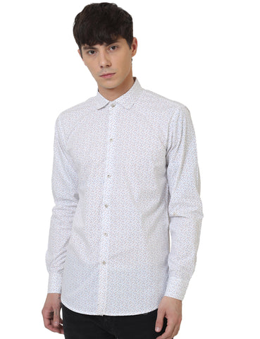 White Color Cotton Printed Men Shirt - LION2019P1