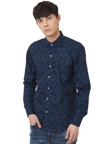 Navy Blue Color Cotton Printed Men Shirt - LION2019P2