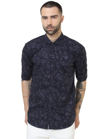 Navy Blue Color Cotton Printed Men Shirt - LION2019P4