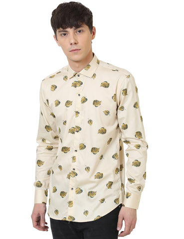 Beige Color Cotton Satin Printed Men Shirt - LION2019P6