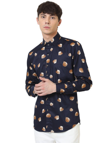 Navy Blue Color Cotton Satin Printed Men Shirt - LION2019P7