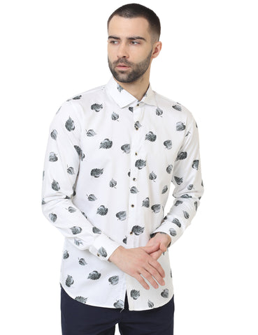White Color Cotton Satin Printed Men Shirt - LION2019P8