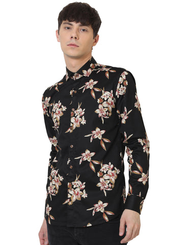 Black Color Cotton Satin Printed Men Shirt - LION2019P9