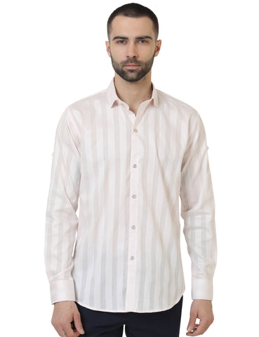 Light Pink Color Cotton Satin Striped Men Shirt - LION2019S1