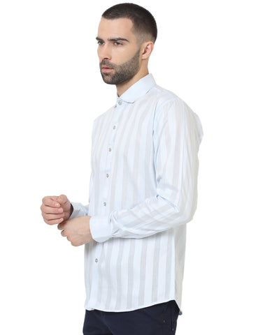 Sky Blue Color Cotton Satin Striped Men Shirt - LION2019S2
