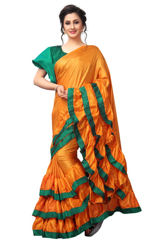 Orange Color Paper Silk Saree - LL001619