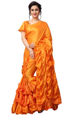 Buy Orange Color Paper Silk Saree