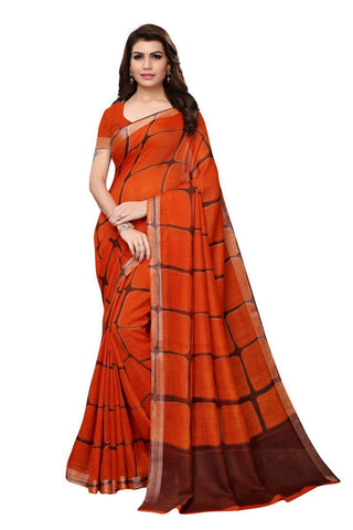 Rust Color Linen Saree - LNNP2