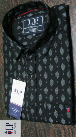 Black Color Pure Cotton Men's Shirt - LPS-3
