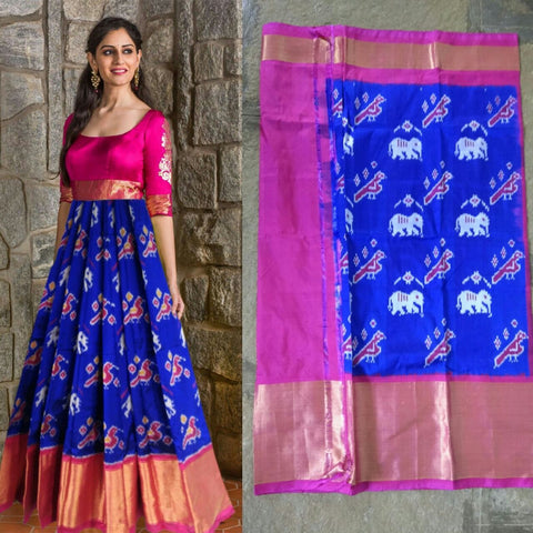 Blue Color Pachampally Ikkat Silk Women's UnStitched Lehenga - LS-14092019-LEHENGA-10