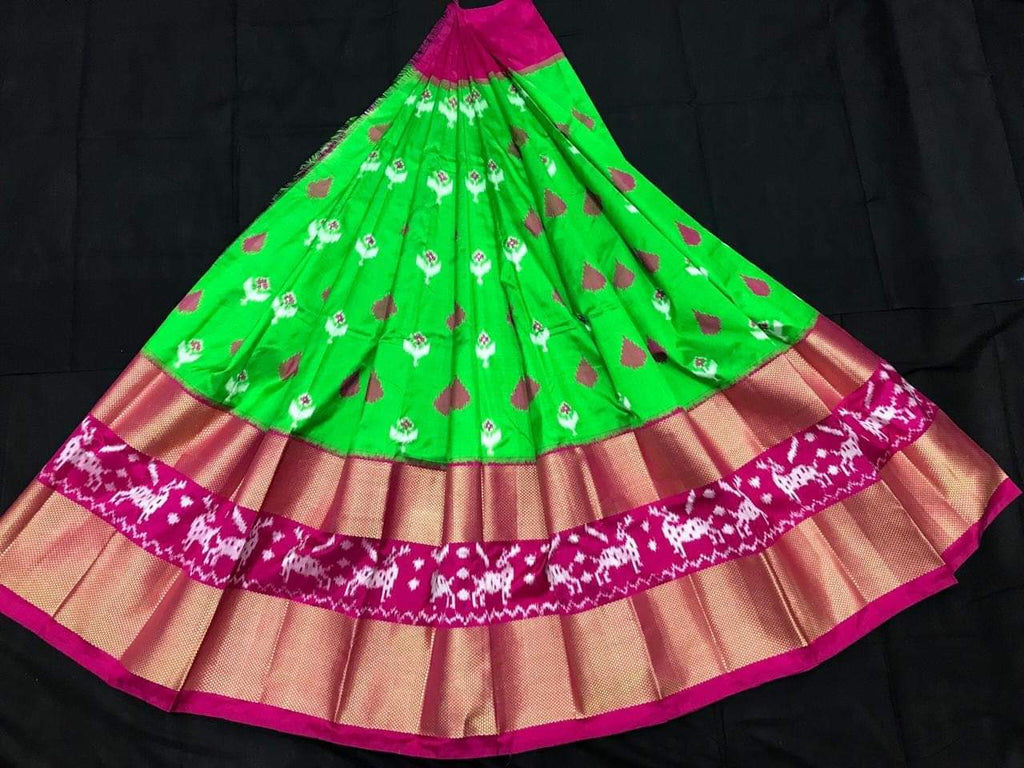 Buy Parrot Green Color Pachampally Ikkat Silk Women's UnStitched Lehenga
