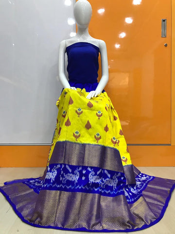 Yellow Color Pochampally Ikkat Silk Women's UnStitched Lehenga - LS-14092019-LEHENGA-1