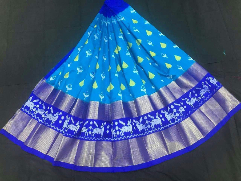 Buy Sky Blue Color Pochampally Ikkat Silk Women's UnStitched Lehenga