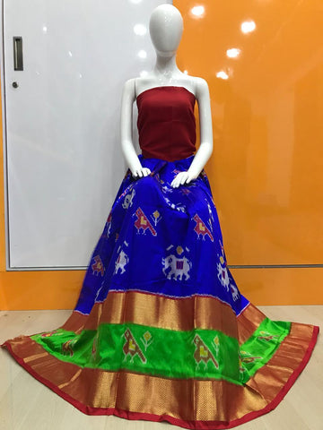 Royal Blue Color Pochampally Ikkat Silk Women's UnStitched Lehenga - LS-14092019-LEHENGA-2
