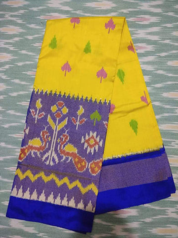 Yellow Color Pochampally Ikkat Silk Women's UnStitched Lehenga - LS-14092019-LEHENGA-31
