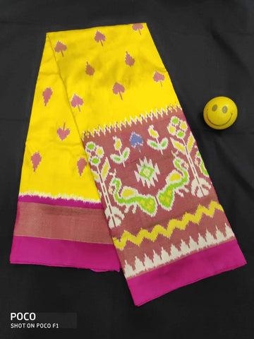 Yellow Color Pachampally Ikkat Silk Women's UnStitched Lehenga - LS-14092019-LEHENGA-36