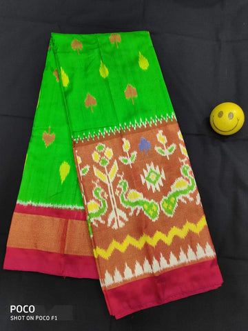 Parrot Green Color Pochampally Ikkat Silk Women's UnStitched Lehenga - LS-14092019-LEHENGA-39