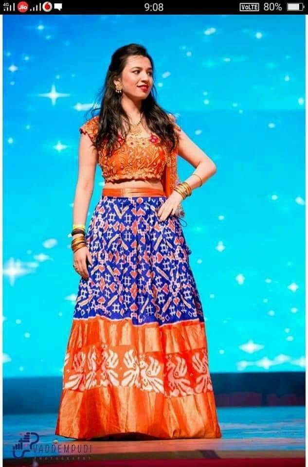 Buy Multi Color Pachampally Ikkat Silk Women's UnStitched Lehenga