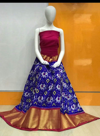 Royal Blue Color Pochampally Ikkat Silk Women's UnStitched Lehenga - LS-14092019-LEHENGA-7