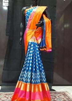 Blue and Orange Color Ikat Silk Pochampally Saree - LS-2101