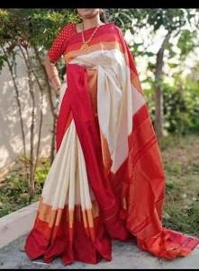 Cream and Red Color Ikat Silk Pochampally Saree - LS-2102