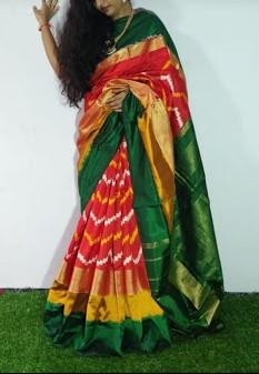 Multi Color Ikat Silk Pochampally Saree - LS-2103