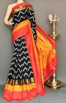 Multi Color Ikat Silk Pochampally Saree - LS-2105