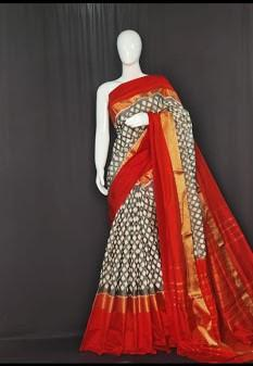 Beige and Red Color Ikat Silk Pochampally Saree - LS-2106