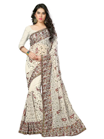 White Color Georgette Saree - LS-577