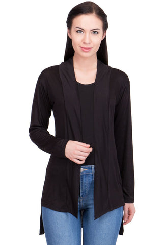 Black Color Cotton Womens Shrugs - LS-BLS-BLACK
