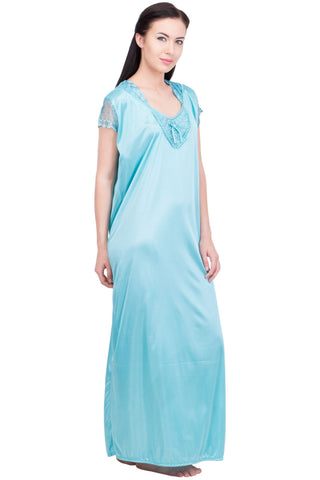 Blue Color Satin Women Night Suit - LS-LNG-BLUE
