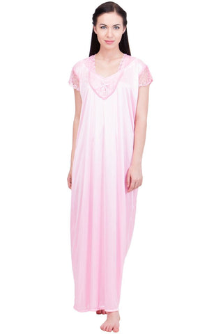 Pink Color Satin Women Night Suit - LS-LNG-PINK1