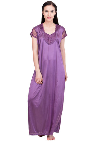 Purple Color Satin Women Night Suit - LS-LNG-PURPLE