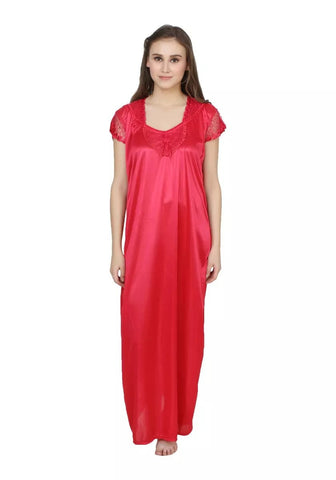 RaniPink Color Satin Women Night Suit - LS-LNG-RANIPINK