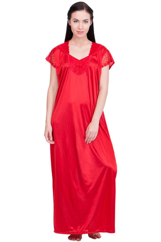 Red Color Satin Women Night Suit - LS-LNG-RED