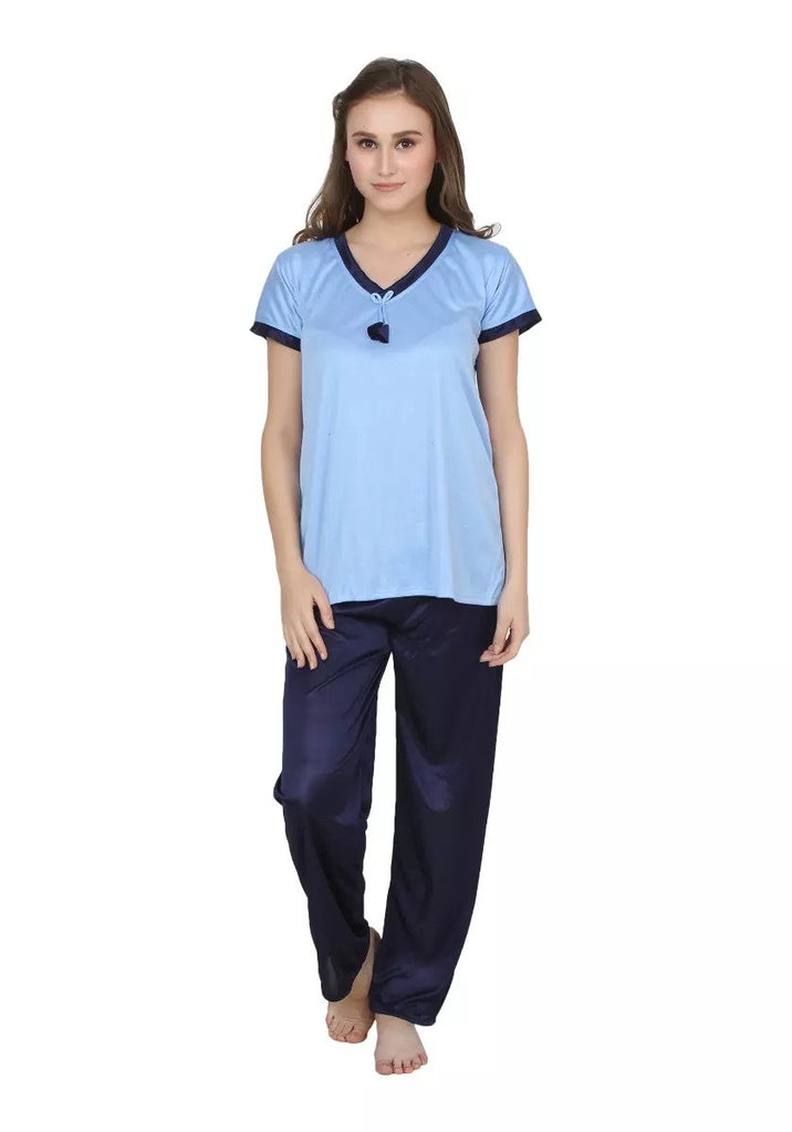 Buy LightBlue Color Cotton Women Nighty