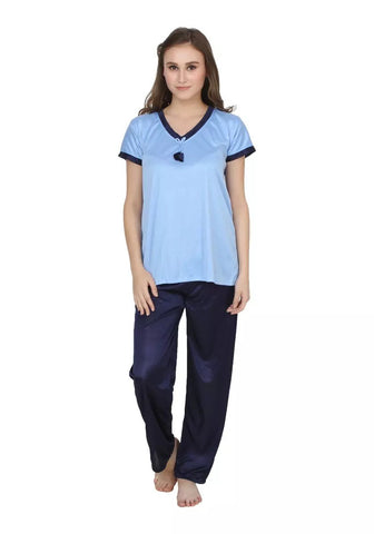 LightBlue Color Cotton Women Nighty - LS-NST-LIGHTBLUE