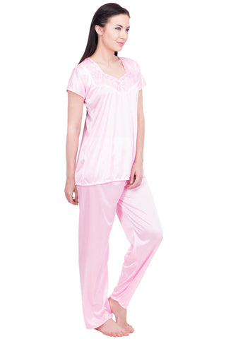 Pink Color Satin Women Nighty - LS-NST-PINK